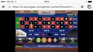 Roulette at Sky Vegas Mobile