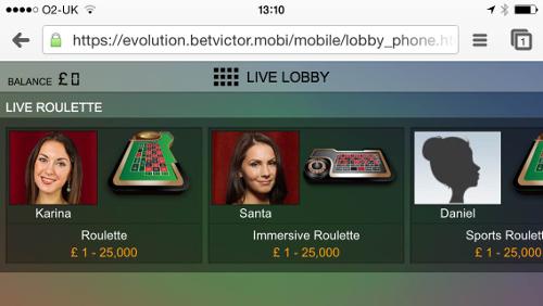 BetVictor Live Dealer Casino